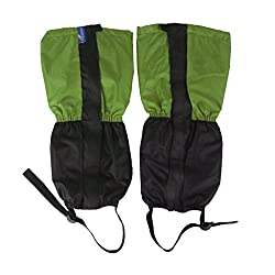 Generic 1 Pair Adult's Fleece Thermal Waterproof Snow Gaiters Cover - Green Black