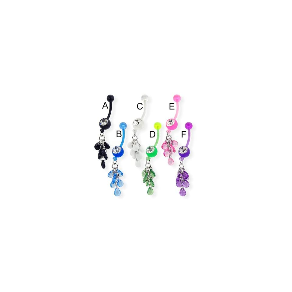 Bioplast belly button ring with teardrop gems on dangle, black   A