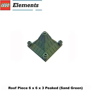 Lego Parts: Roof Piece 6 x 6 x 3 Peaked (Sand Green)