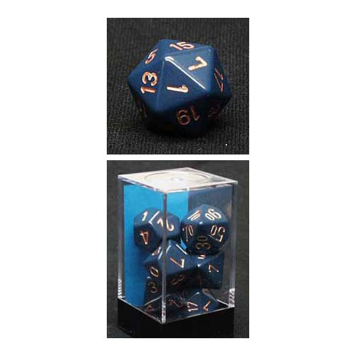 Chessex CHX 25426 Polyhedral 7-Die Opaque Dice Set - Dusty Blue with Gold