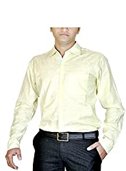 Routeen Men's Yellow Slim Fit Shirt (SMRCTNLCD101S2_L)