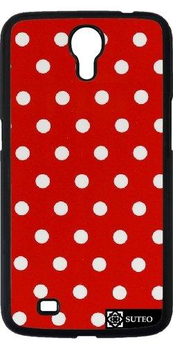 Hülle für Samsung Galaxy Mega 6.3 (GT-I9205) - Podka Dots Weiß auf rotem Hintergrund - ref 1021