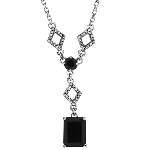 Sterling Silver Octagon Onyx and Diamond-Accented Pendant Necklace, 18