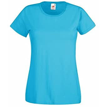 Fruit Of The Loom Ladies/Womens Lady-Fit Valueweight Short Sleeve T-Shirt (XS) (Azure Blue)