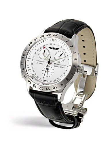 Perigaum 1972 Global Timer P-0501-SW Automatic Watch for Him Adjustable City Scale