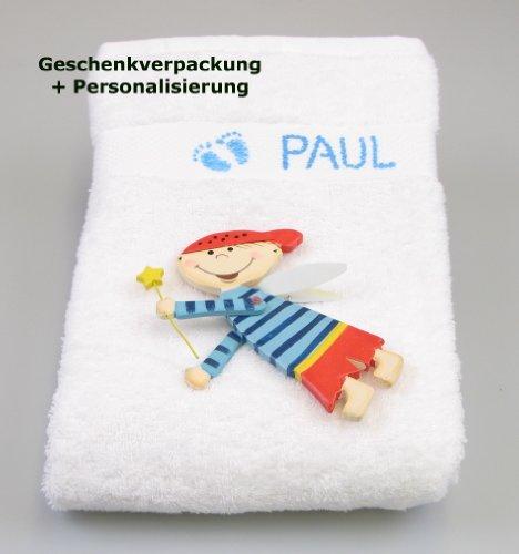 Großes Handtuch mit Schutzengel und Name, weiß, für Jungen, mit blauem Füßchen-Aufdruck, Taufgeschenk, Babyshower, Pullerparty, Babygeschenk personalisiert, Badetuch für Babys, Geburtsgeschenk, 100cmx50cm, Duschtuch