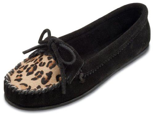 Minnetonka Womens Suede Skimmer Moc Black Leopard Size 9.5