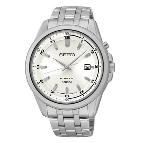 Silver Easy To Read Dial Seiko Men's Kinetic Stainless Steel Bracelet Watch