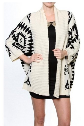 Women White Aztec Oversized Open Front Loose