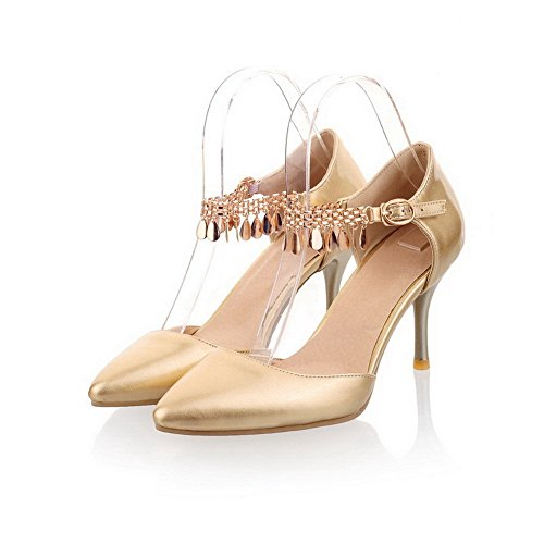 VogueZone009 Womens Closed Pointed Toe High Heel Patent Leather Solid Pumps with Metal Chain, Gold, 8 B(M) US