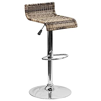 Flash Furniture 2 Pk. Contemporary Wicker Adjustable Height Barstool with Chrome Base