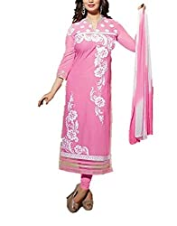 ShoppiZe Women's Cotton Embroidered Unstitched Dress Material(Tanisha-1804 Pink/White)