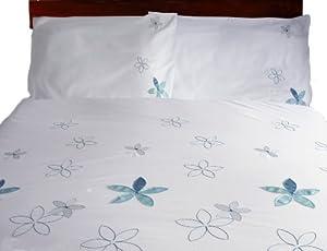 Charlotte Thomas Sussanah Set de lit Housse de couette brodée (137cm x 198cm) et 1 taie d'oreiller assortie (50.8cm x 76.2cm)