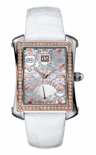 Marc Ecko E13569L1 Unisex Three hand flyback after 6' clock position, silver dial with rose gold accents, white leather strap iced