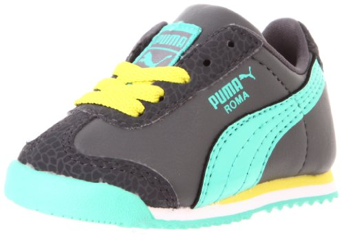 Puma Roma Flower Kids Sneaker (Toddler/Little Kid),Dark Shadow/Aqua Green/Fluorescent Yellow,8 M US Toddler
