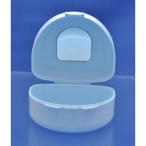 鏡付き入れ歯マウスピースケース(容器) 水色
