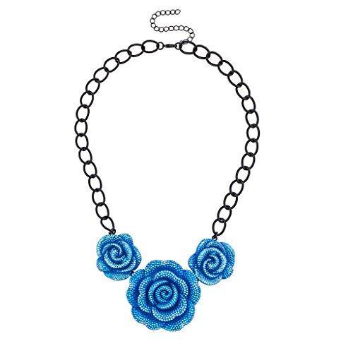 Lux accessori blu floreale Dichiarazione Collana