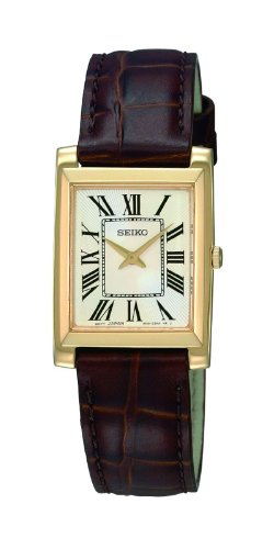 Seiko Ladies Quartz Analogue Watch SUJG22P2 with Gold Plated Brown Strap and White Dial