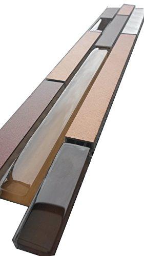 Edelstahl Aluminium Glasmosaik Bordüre Alu Braun / Gold Stäbe Matte Metall