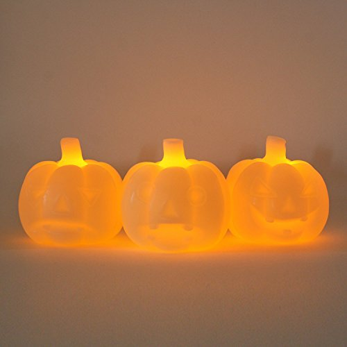 [Set of 3 Halloween Mini Wax Ivory Carved Glowing Pumpkin Flameless LED Candles with Five Hour Auto Timer, 1 Warm White LED per Pumpkin, Batteries] (Halloween Candles)