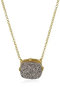 "Marcia Moran ""Illume"" Titanium Druzy Cube Pendant Necklace 18k Gold-Plated Necklace, 17"""