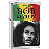 Bob Marley Face & Flag Brushed Chrome Zippo Lighter