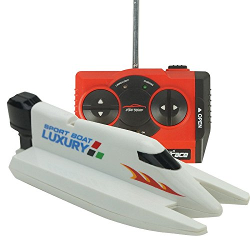 eMart Radio Télécommande Bateau à Grande Vitesse D'aviron 2.4G 4CH RC Racing Bateau Avec Double Hélices Electric Toy - Blanc (White)