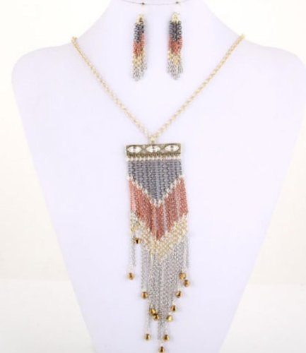 Fusion Necklace & Earrings Set - Gold, Brown, & Silver - Chain