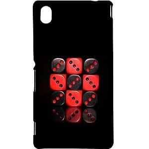 Casotec Red & Black Dice Design Hard Back Case Cover for Sony Xperia M4 Aqua