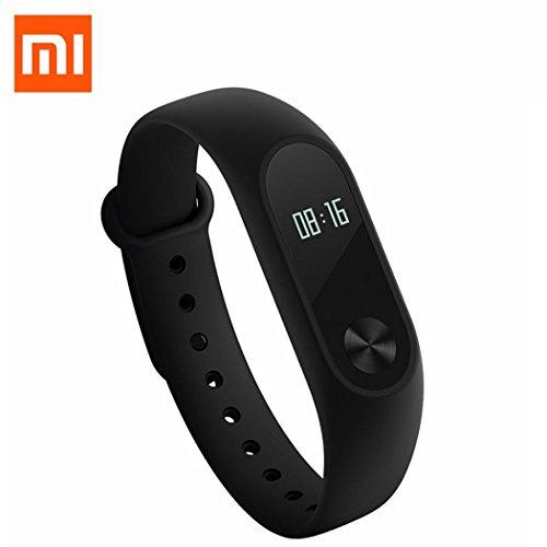 Originale Xiaomi Mi Band 2, Ollivan Originale Xiaomi Mi Band 2 della fascia del braccialetto Smart con schermo touchpad LED intelligente cardiofrequenzimetro Fitness Tracker contapassi senza fili impermeabile Bluetooth 4.0 Wristband(Nero)