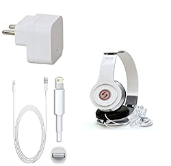 13Tech Premium Quality + Proper 1.5 Amp USB Charger + 1.5 meter Copper Embedded USB Cable (Data Transfer + Charging) + VM 46 3.5 mm Jack Headphones Compatible With Apple Iphone 5S