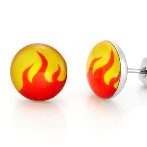 Dynamite Stainless Steel Flames Design Stud Earrings for Men Jewelry (Orange Yellow)