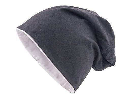 Shenky - Cappello reversibile in 2 colori - jersey - lungo e sottile - primavera / estate - unisex - nero & bianco