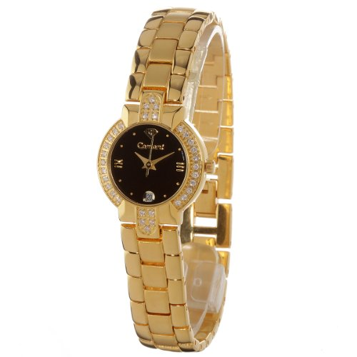 Yves Camani Women's Watch with Diadem Black Dial Analogue Display and Gold Stainless Steel Bracelet 426-LSW