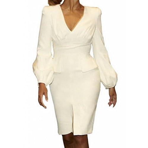(ラボーグ)La Vogue ボディコン レディース ワンピースドレス キャバ 二次会 タイト着痩せ 長袖Vネック膝丈 魅力なミニ丈ワンピース ホワイト