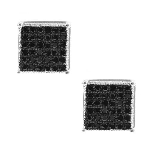 2.00 Ct Men's Sterling Silver Earrings White Black Cubic Zirconia CZ 10mm