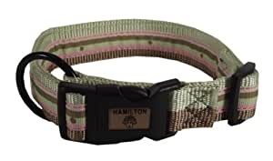 Hamilton Spumoni Collection 5/8-Inch Wide Adjustable Dog Collar, 12-Inch to 18-Inch, Vertical Stripe with Dot