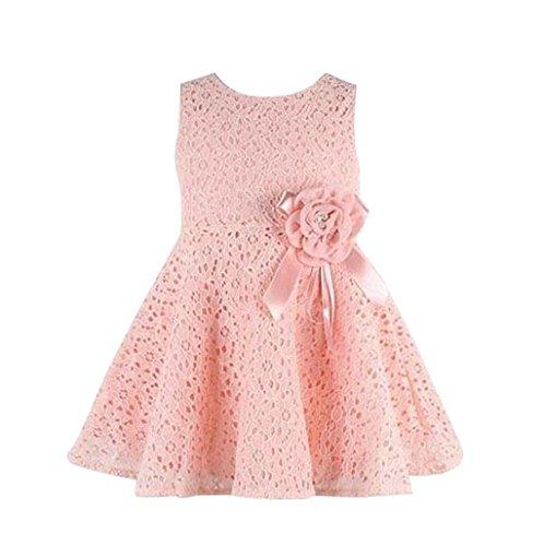 Sannysis® Niños vestido floral de encaje completo; Niño vestido de fiesta de la princesa (130)