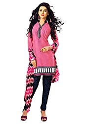 Salwar House Pink & Multicolor Unstitched Synthetic Printed Dress Material with Dupatta