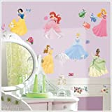 Disney Princess Castle Mega Decal Pack - Includes 1 Giant Glittered Castle Wall Decal (7 Pieces) and 37 Wall Decals with 40+ Peel and Stick Gems