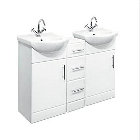 1250mm Double Bathroom Set 450mm Vanity Unit & Drawers