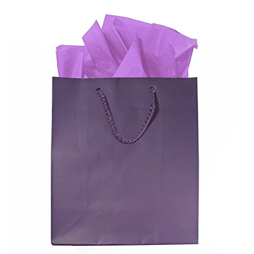 Purple Gift Bags With Lavender Tissue Paper And Tags, Set Of 6, 8 X 10 Inches, Small/Medium front-185429