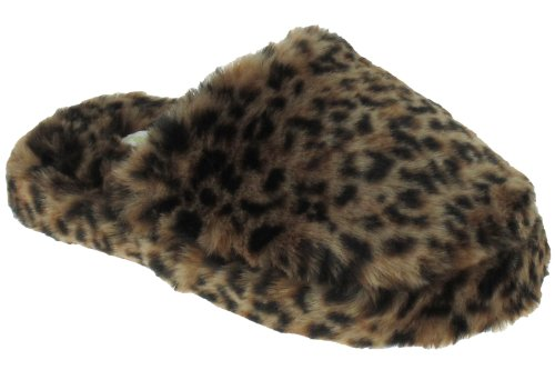 Cheap Capelli New York Leopard Faux Fur Scuff With Lining Ladies Indoor Slippers Natural Combo Large (B00937NLV6)