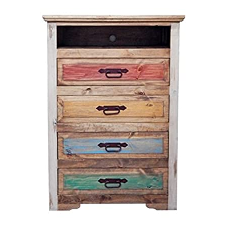 Rustic Cancun Multi Color Chest * Shabby Chic * Solid Wood * Free Shipping 48 *