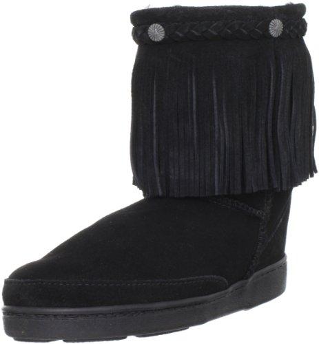 Minnetonka Women's Sheepskin Fringe Low Pug Boot,Black,7 M US