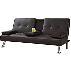 "Tinxs Modern ""Cinema"" Faux Leather 3 Seater Sofa Bed With Fold Down Drinks Table Brown"
