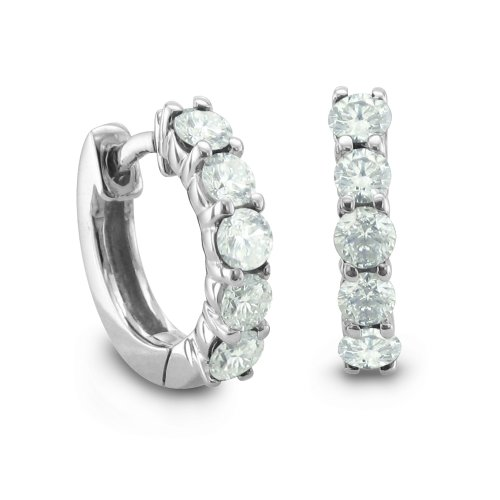 14k White Gold 5 Stone Natural Diamond Hoop Earrings (G, SI2, 1.00 cttw)-Certificate of Authenticity