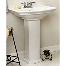 "Washington 460 Pedestal Sink in White Faucet Drillings: 4"" Centers"