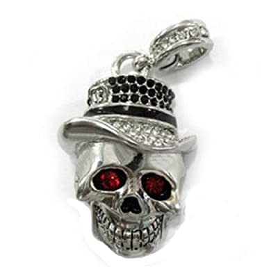 8GB Fashion Crystals Jewelry USB 2.0 Flash Memory Pen Drive Siver Skull Pendant for Necklace by pengyuan