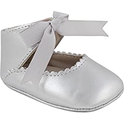 Wee Kids Metallic Mary Jane Baby-Girl Shoes Bow (Infant Crib Shoes Soft Sole Baby Shoes) Silver Grey Sz 2